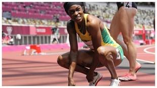 Elaine  Thompson, tras las semifinales de 200 metros.