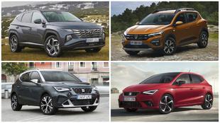 Hyundai Tucson, Dacia Sandero Stepway, Seat Arona y Seat Ibiza.