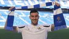 Diego Rico, en su presentación oficial como nuevo jugador de la Real.