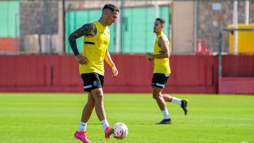 Braian Cufré entrenando con el Mallorca.