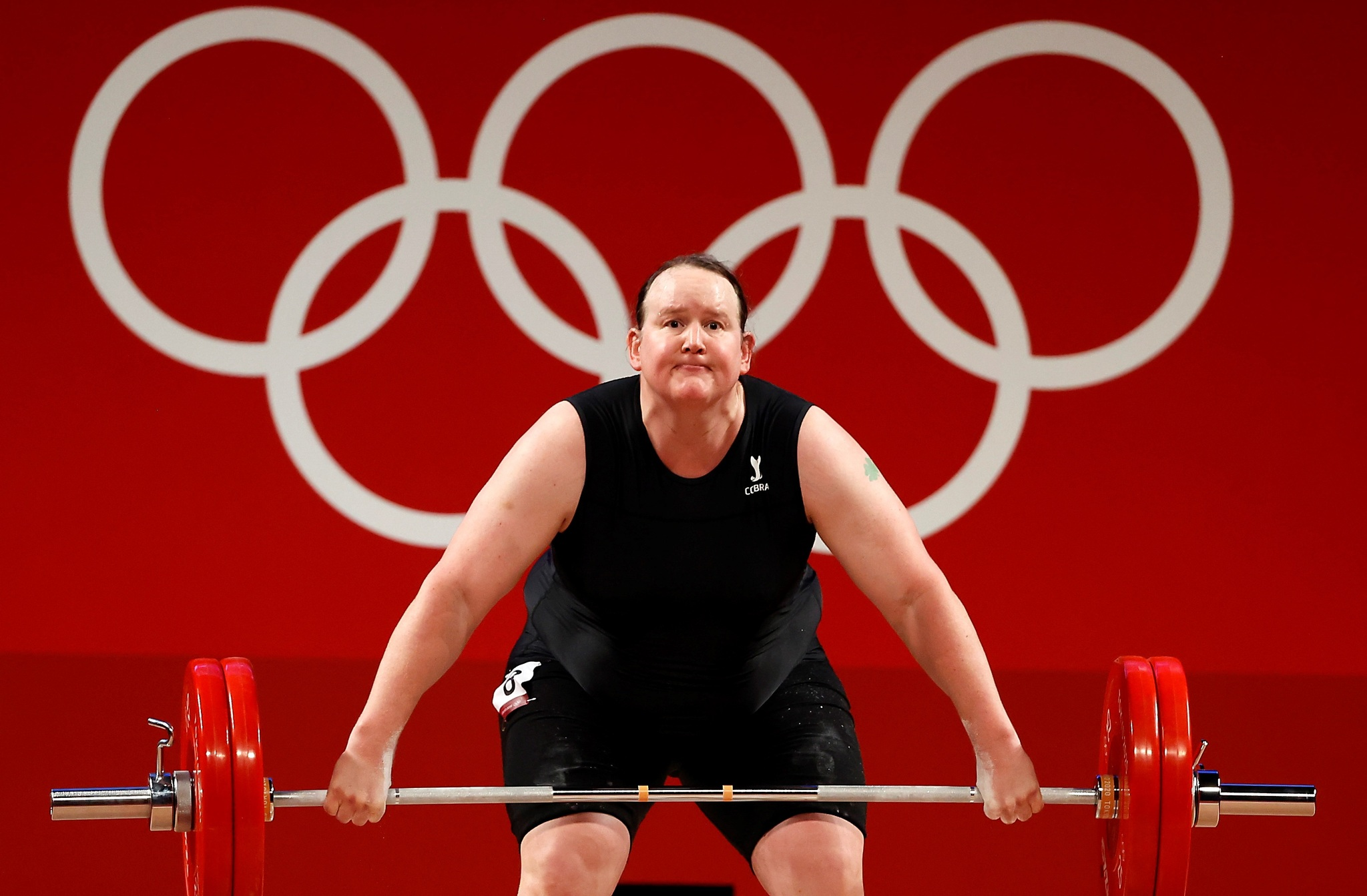 New Zealand's Laurel Hubbard, the first-ever trans Olympic athlete, during the women's 87kg weightlifting event.