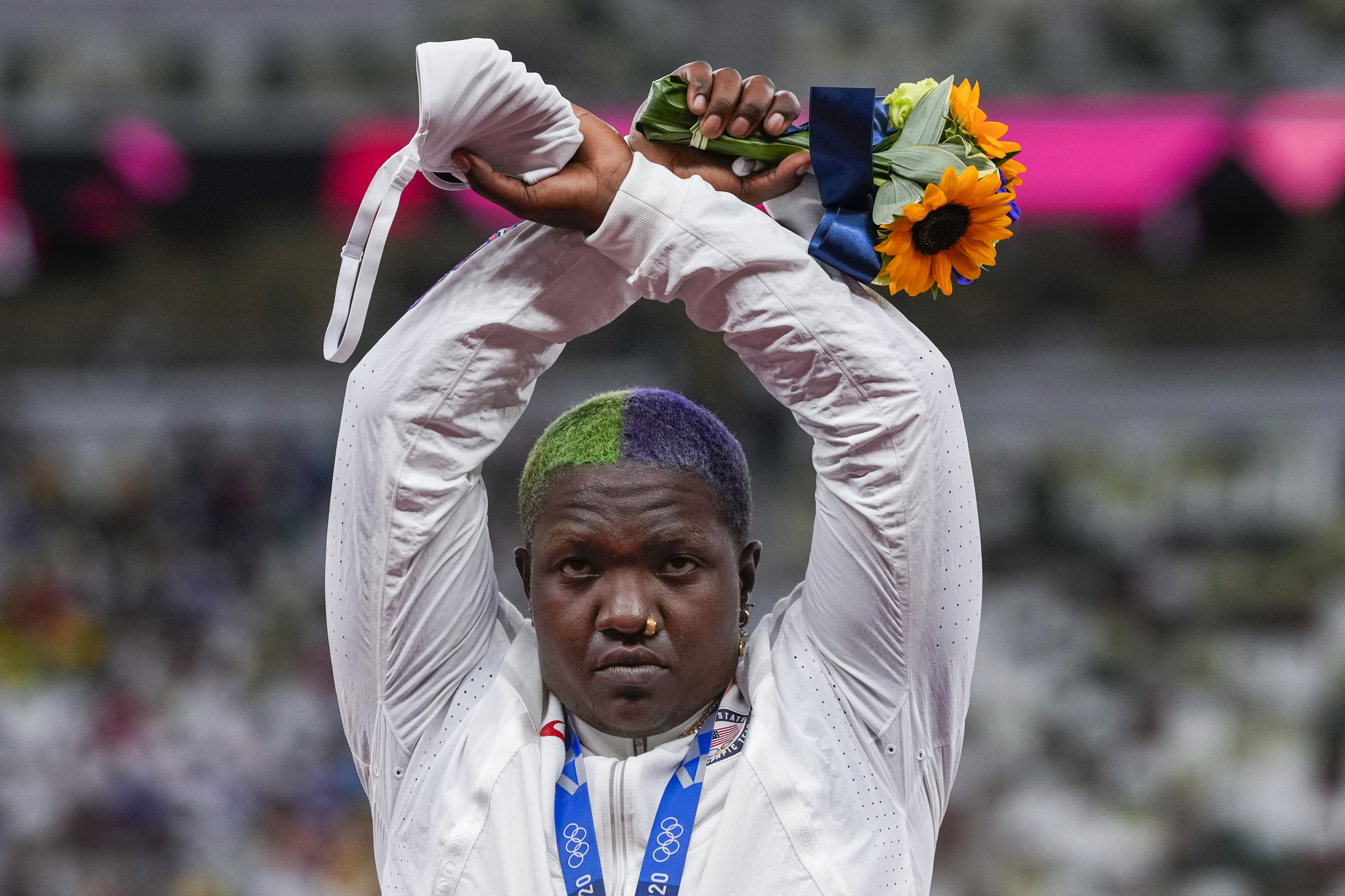 USA's Raven Saunders poses with her silver medal after the women's shot put event.