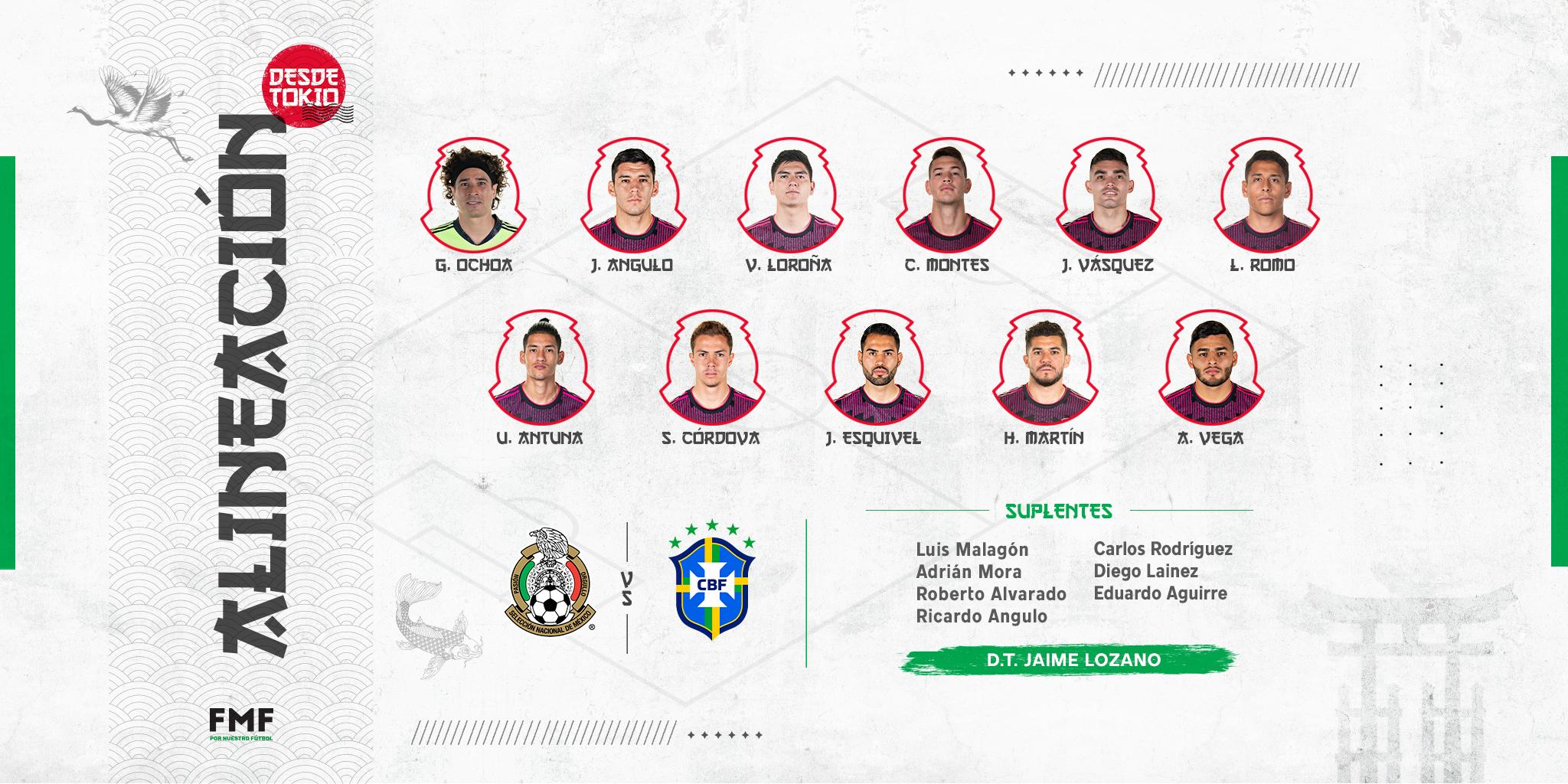Listo el 11 inicial de la selección mexicana para la semifinal ante Brasil