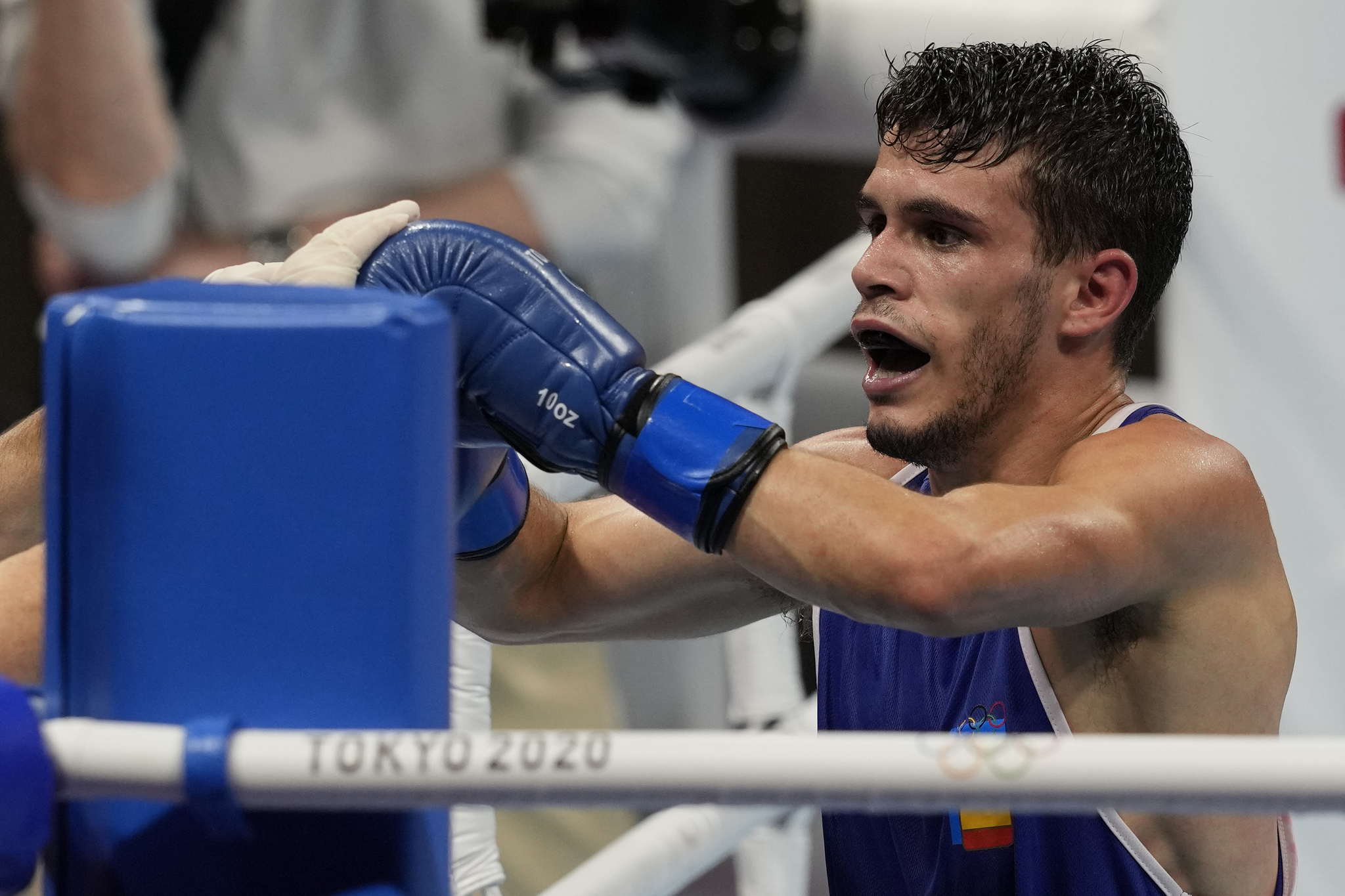 Spain's Gabriel lt;HIT gt;Escobar lt;/HIT gt; Mascunano after his men's flyweight 52-kg boxing match against Bulgaria's Daniel Panev Asenov at the 2020 Summer Olympics, Saturday, July 31, 2021, in Tokyo, Japan. (AP Photo/Themba Hadebe)