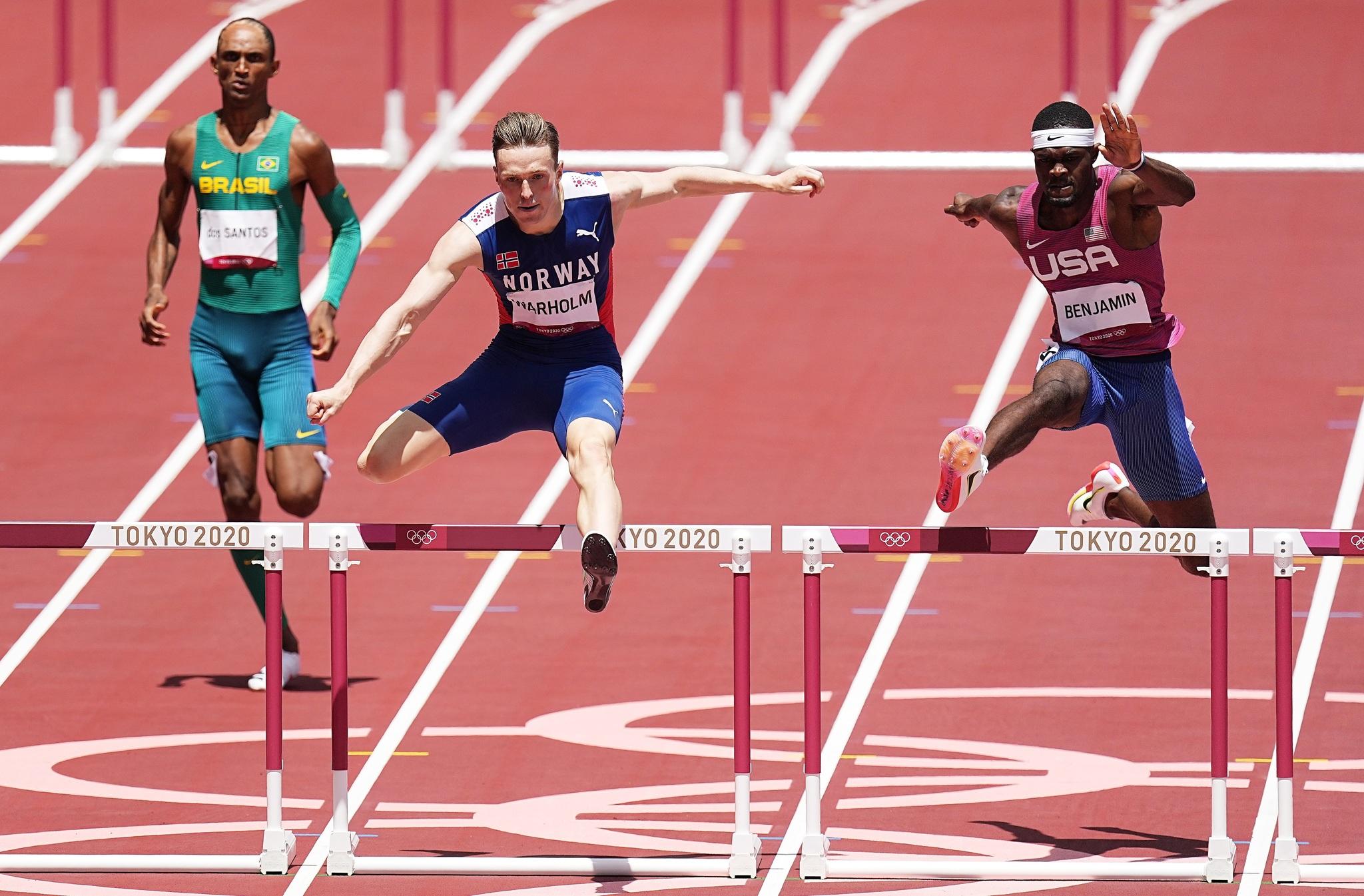Norway's Karsten Warholm and the USA's Rai Benjamin during the men's 400m hurdles final.