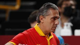 Sergio Scariolo, serio tras el partido ante Estados Unidos