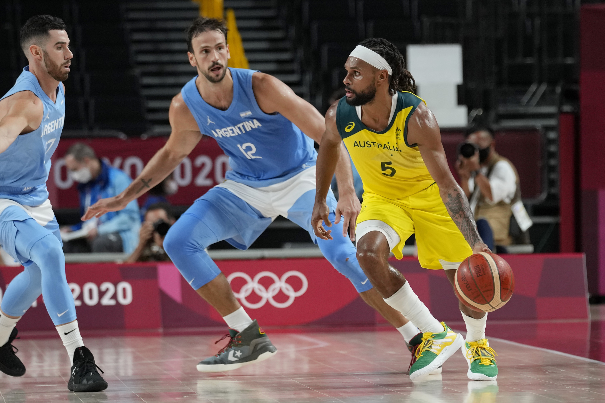 Australia point guard Patty Mills during his side's quarter-final match against Argentina.