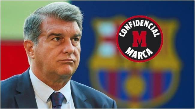 El presidente del Barcelona, Joan Laporta, durante la presentación de...