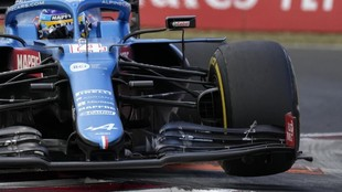 Fernando Alonso, durante el GP de Huingría 2021.
