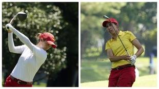 Azahara Muñoz y Carlota Ciganda, en la primera ronda del torneo...