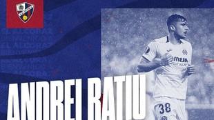 La imagen con la que el Huesca ha hecho oficial el fichaje de Ratiu.