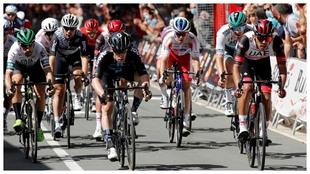 Llegada de la segunda etapa de la Vuelta a Burgos.