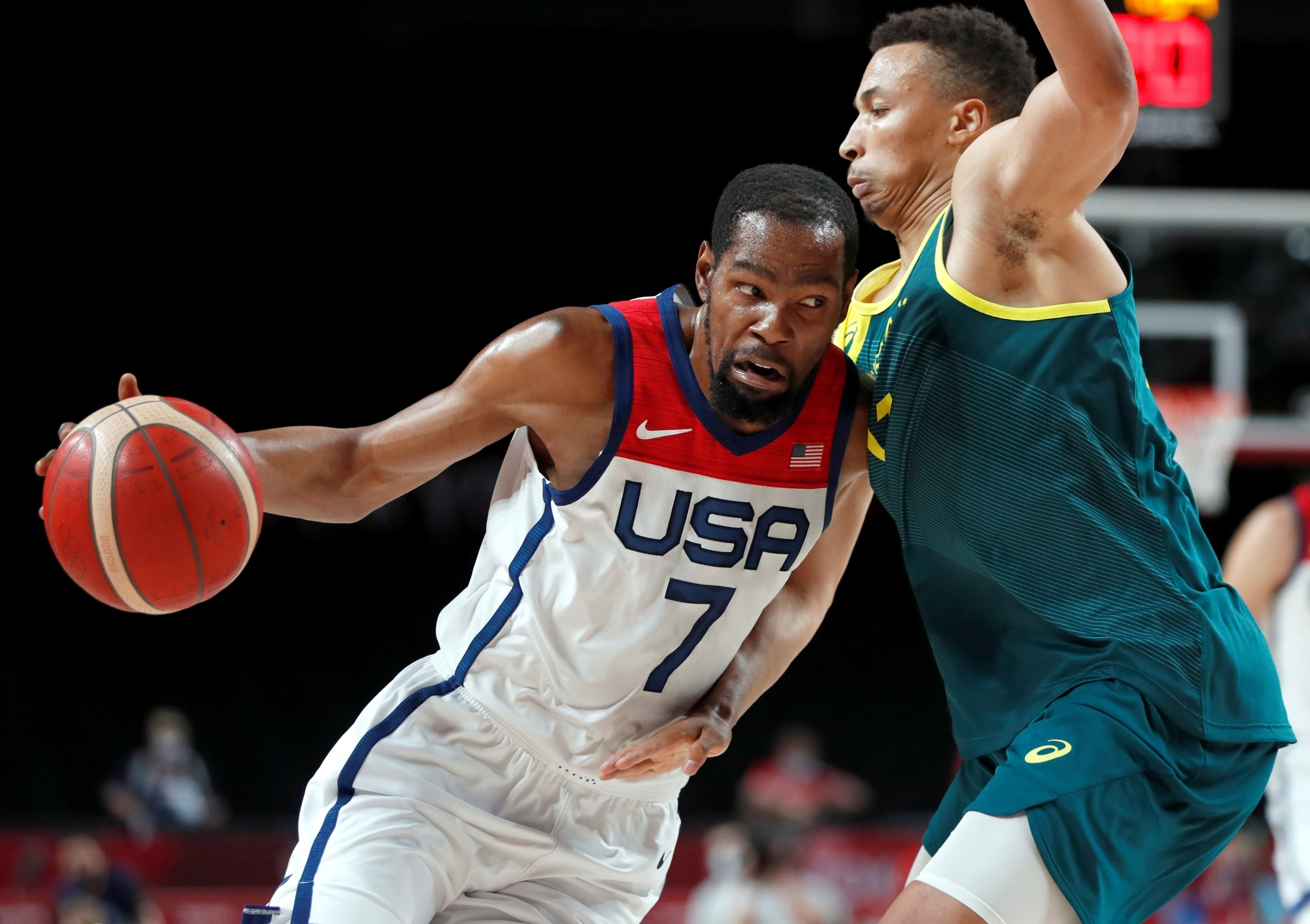 Kevin Durant during the USA's semi-final against Australia.
