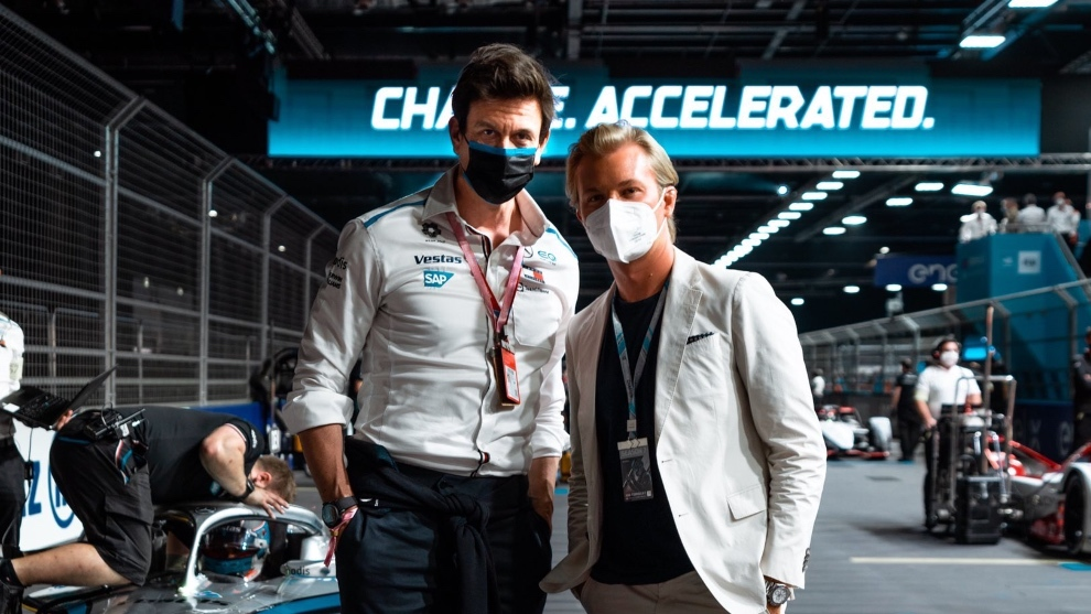 Toto Wolff y Nico Rosberg en el GP de Londres de Fórmula E