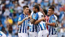 Zubeldia, Pacheco y Barrenetxea celebran el tanto de Willian José al...