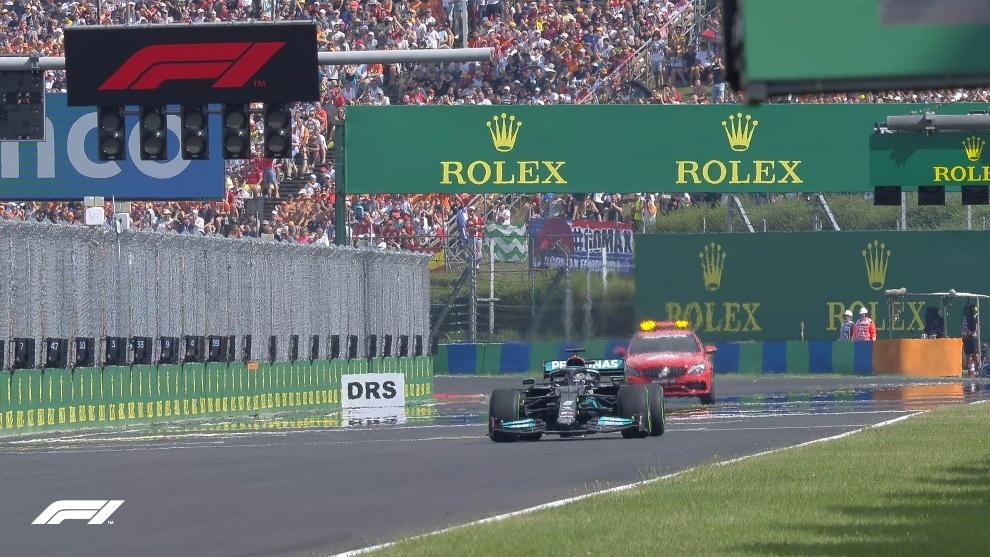Hamilton en la resalida del GP de Hungría