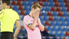 De Jong se lamenta durante un partido.