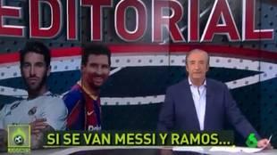 """La promesa de Pedrerol que sacude Twitter: """"Si se van Messi y Ramos, dimito"""""""