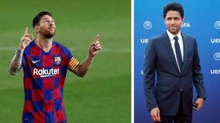 Messi, con la camiseta del Barcelona, y Al Khelaifi, presidente del...