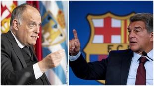 Javier Tebas, presidente de LaLiga, y Joan Laporta, presidente del...