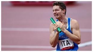 Filiippo Tortu, emocionado con el oro y el récord nacional.
