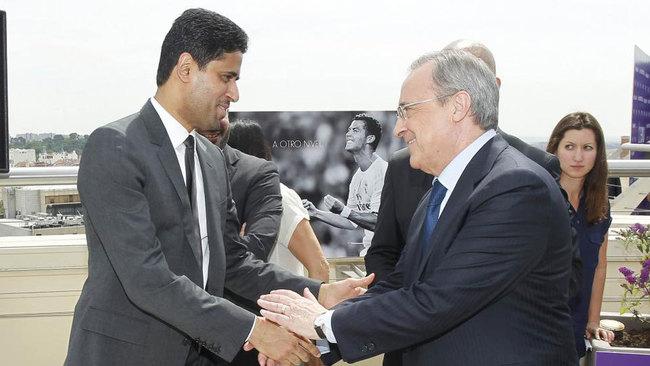 Al Khelaifi  y Florentino Pérez, en una imagen de archivo