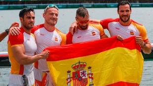 Craviotto, Walz, Arévalo y Germade, el sábado en el canal olímpico.