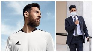 Un montaje con una imagen de Messi y otra de Al-Khelaïfi.