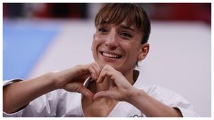 Sandra Sánchez, tras conquistar la medalla de oro.