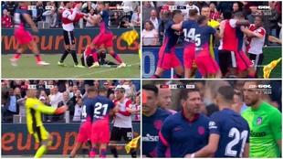 Carrasco pierde los papeles y Simeone salta al césped a reprochárselo