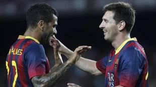 Dani Alves y Leo Messi, en el Barcelona.