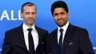 Ceferin y Al-Khelaïfi, durante un encuentro en la UEFA.