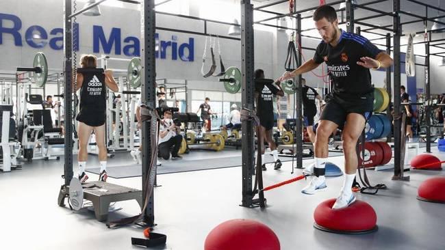 Hazard, en un entrenamiento en el gimnasio de Valdebebas.