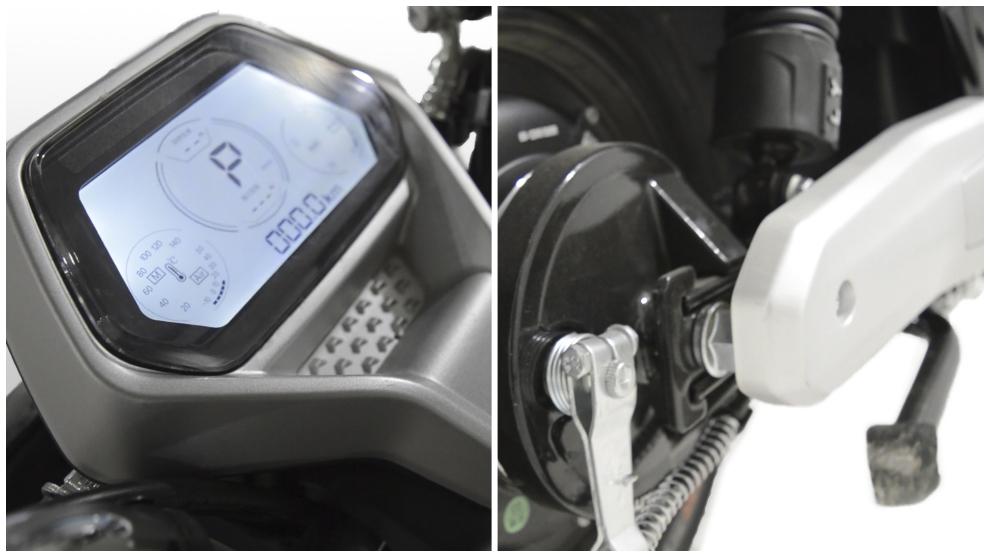 La pantalla incluye velocímetro, indicador de nivel de carga y cuentakilómetros.