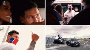 """El viaje de Messi de Barcelona a París: las """"gracias"""" en el Prat, la emoción de Antonella, el """"quilombo"""" en el jet..."""