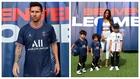 Un montaje con una imagen de Messi y otra de Antonela y los niños.