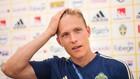 Augustinsson, en un rueda de prensa con Suecia.