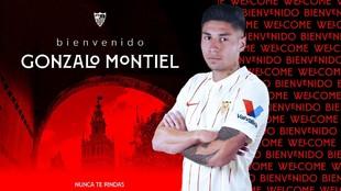 La imagen con la que el Sevilla ha anunciado el fichaje de Gonzalo...
