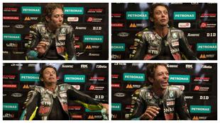 Los gestos de Rossi al narrar cómo fueron las últimas vueltas en el...