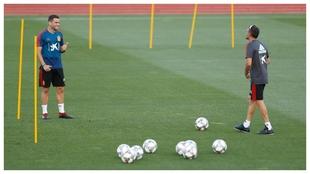 Nacho y Luis Enrique, en un entrenamiento de la selección.