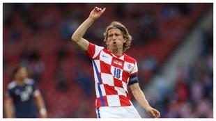 Modric, tras marcar con Croacia en la Euro ante Escocia.