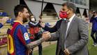Messi y Laporta se saludan