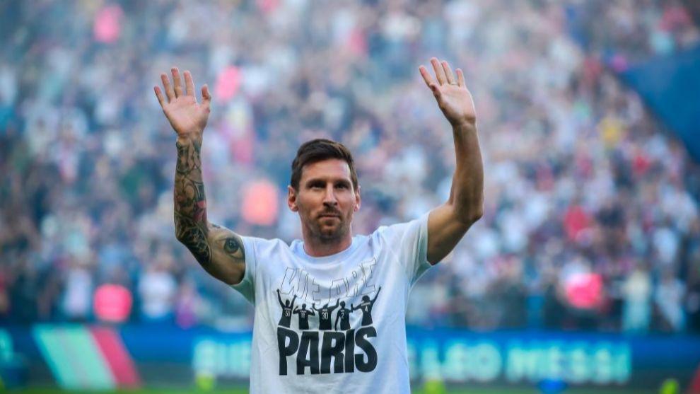 Lionel Messi, en su presentación pública en el Parque de los...