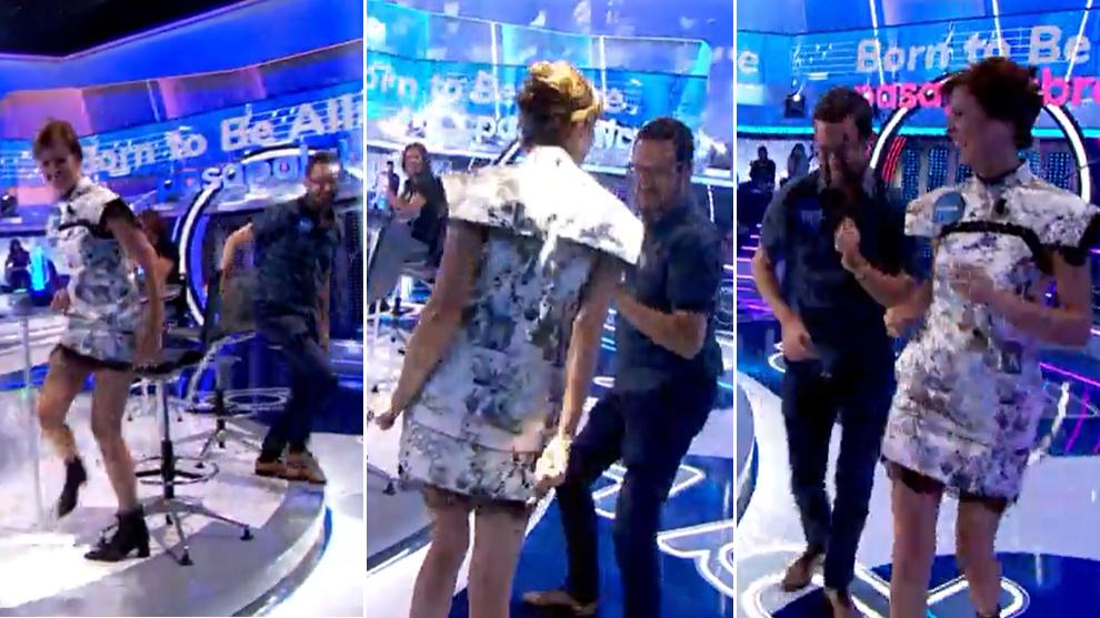 Marco Antonio y Nuria March bailan en Pasapalabra