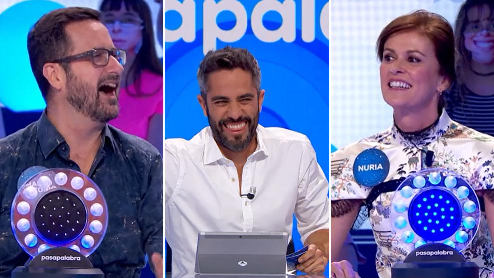 Marco Antonio, Roberto Leal y Nuria March en Pasapalabra
