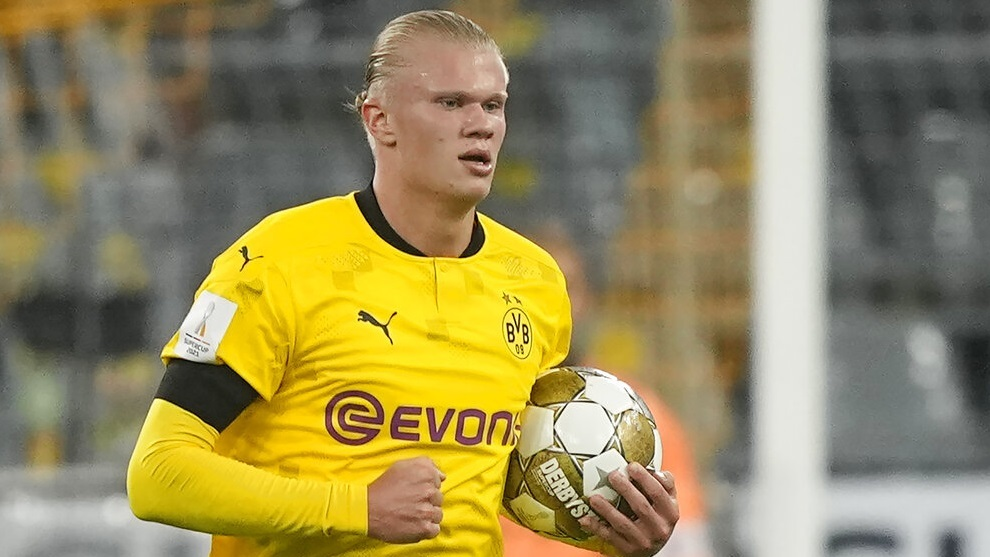 Dortmund's Erling Haaland during the German Supercup.