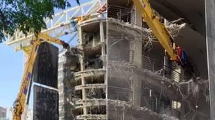 El impactante vídeo de la demolición de la Torre B del Santiago Bernabéu... ¡a 'mordiscos'!