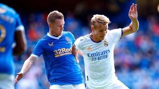 Odegaard, en el amistoso entre Rangers y Real Madrid