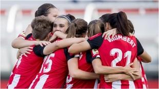 Las jugadoras del Athletic celebrando un gol de la pasada temporada.
