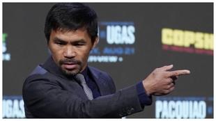 Manny Pacquiao en la conferencia de prensa conjunta con Ugás.
